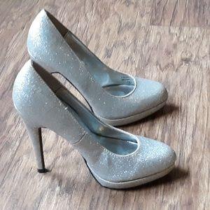 Bumper Heels Silver Glitter